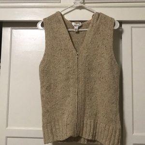Talbots long full zipper vest size L